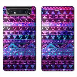 Housse cuir portefeuille Samsung Galaxy A80 motifs Aztec azteque violet