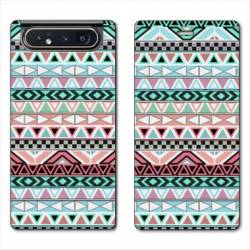 Housse cuir portefeuille Samsung Galaxy A80 motifs Aztec azteque turquoise