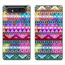 Housse cuir portefeuille Samsung Galaxy A80 motifs Aztec azteque rouge