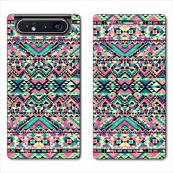 Housse cuir portefeuille Samsung Galaxy A80 motifs Aztec azteque rose