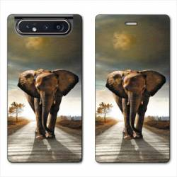Housse cuir portefeuille Samsung Galaxy A80 savane Elephant route