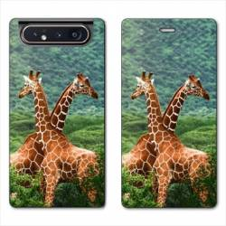 Housse cuir portefeuille Samsung Galaxy A80 savane Girafe Duo