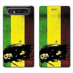 Housse cuir portefeuille Samsung Galaxy A80 Bob Marley Drapeau