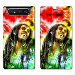 Housse cuir portefeuille Samsung Galaxy A80 Bob Marley Color