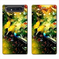 Housse cuir portefeuille Samsung Galaxy A80 papillons papillon jaune