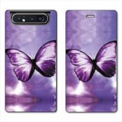 Housse cuir portefeuille Samsung Galaxy A80 papillons violet et blanc