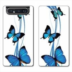 Housse cuir portefeuille Samsung Galaxy A80 papillons bleu