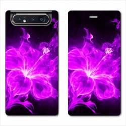 Housse cuir portefeuille Samsung Galaxy A80 fleur hibiscus violet