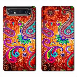 Housse cuir portefeuille Samsung Galaxy A80 fleur psychedelic