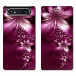 Housse cuir portefeuille Samsung Galaxy A80 fleur violette montante