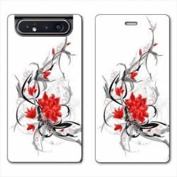 Housse cuir portefeuille Samsung Galaxy A80 fleur épine