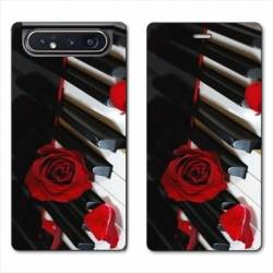 Housse cuir portefeuille Samsung Galaxy A80 Musique Rose Piano
