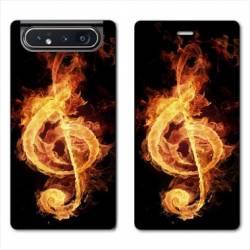 Housse cuir portefeuille Samsung Galaxy A80 Musique clé sol feu N