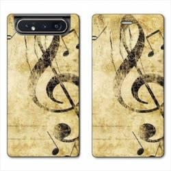 Housse cuir portefeuille Samsung Galaxy A80 Musique clé sol vintage