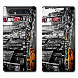 Housse cuir portefeuille Samsung Galaxy A80 Amerique USA New York Taxi