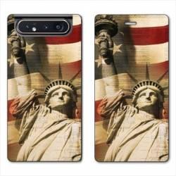 Housse cuir portefeuille Samsung Galaxy A80 Amerique USA Statue liberté