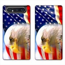 Housse cuir portefeuille Samsung Galaxy A80 Amerique USA Aigle
