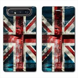 Housse cuir portefeuille Samsung Galaxy A80 Angleterre UK Jean's