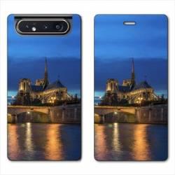 Housse cuir portefeuille Samsung Galaxy A80 France Notre Dame Paris night