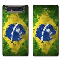 Housse cuir portefeuille Samsung Galaxy A80 Bresil texture