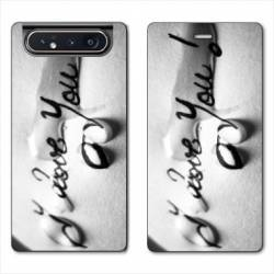 Housse cuir portefeuille Samsung Galaxy A80 I love you larme B