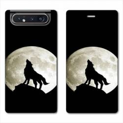 Housse cuir portefeuille Samsung Galaxy A80 Loup Noir