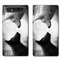 Housse cuir portefeuille Samsung Galaxy A80 Loup Duo