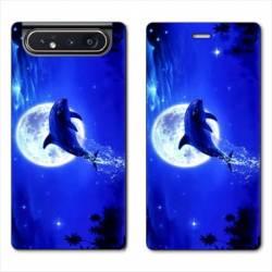 Housse cuir portefeuille Samsung Galaxy A80 Dauphin lune