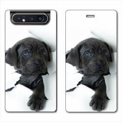 Housse cuir portefeuille Samsung Galaxy A80 Chien noir