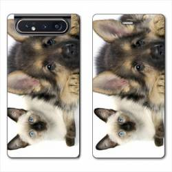 Housse cuir portefeuille Samsung Galaxy A80 Chien vs chat