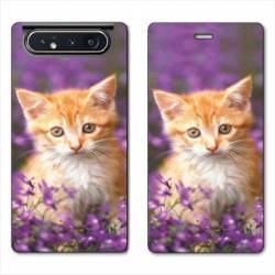 Housse cuir portefeuille Samsung Galaxy A80 Chat Violet