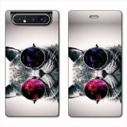 Housse cuir portefeuille Samsung Galaxy A80 Chat Fashion