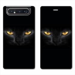 Housse cuir portefeuille Samsung Galaxy A80 Chat Noir