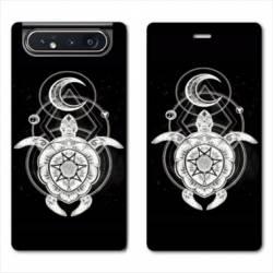 Housse cuir portefeuille Samsung Galaxy A80 Animaux Maori Tortue noir