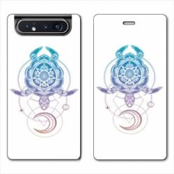 Housse cuir portefeuille Samsung Galaxy A80 Animaux Maori tortue color