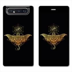 Housse cuir portefeuille Samsung Galaxy A80 Animaux Maori Raie noir