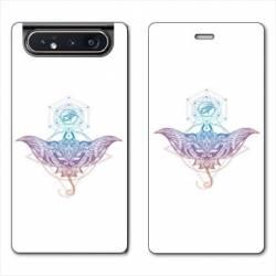 Housse cuir portefeuille Samsung Galaxy A80 Animaux Maori Raie color