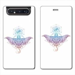 Housse cuir portefeuille Samsung Galaxy A80 Animaux Maori Raie color