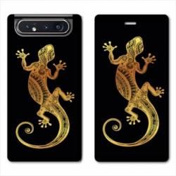 Housse cuir portefeuille Samsung Galaxy A80 Animaux Maori lezard noir