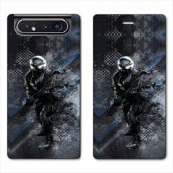 Housse cuir portefeuille Samsung Galaxy A80 police swat