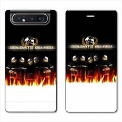 Housse cuir portefeuille Samsung Galaxy A80 pompier soldat