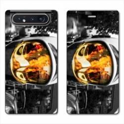 Housse cuir portefeuille Samsung Galaxy A80 pompier casque feu