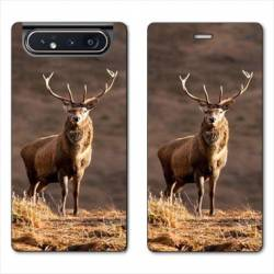 Housse cuir portefeuille Samsung Galaxy A80 chasse chevreuil Blanc