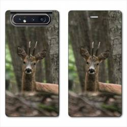 Housse cuir portefeuille Samsung Galaxy A80 chasse chevreuil Bois