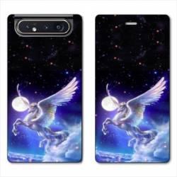 Housse cuir portefeuille Samsung Galaxy A80 Licorne Céleste