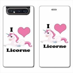 Housse cuir portefeuille Samsung Galaxy A80 Licorne I love FR