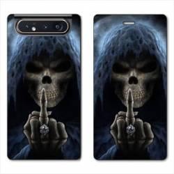 Housse cuir portefeuille Samsung Galaxy A80 tete de mort Doigt