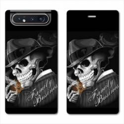 Housse cuir portefeuille Samsung Galaxy A80 tete de mort family business