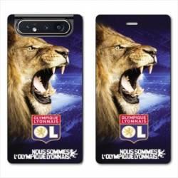 Housse cuir portefeuille Samsung Galaxy A80 Licence Olympique Lyonnais - Rage de vaincre
