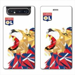 Housse cuir portefeuille Samsung Galaxy A80 License Olympique Lyonnais OL - lion color